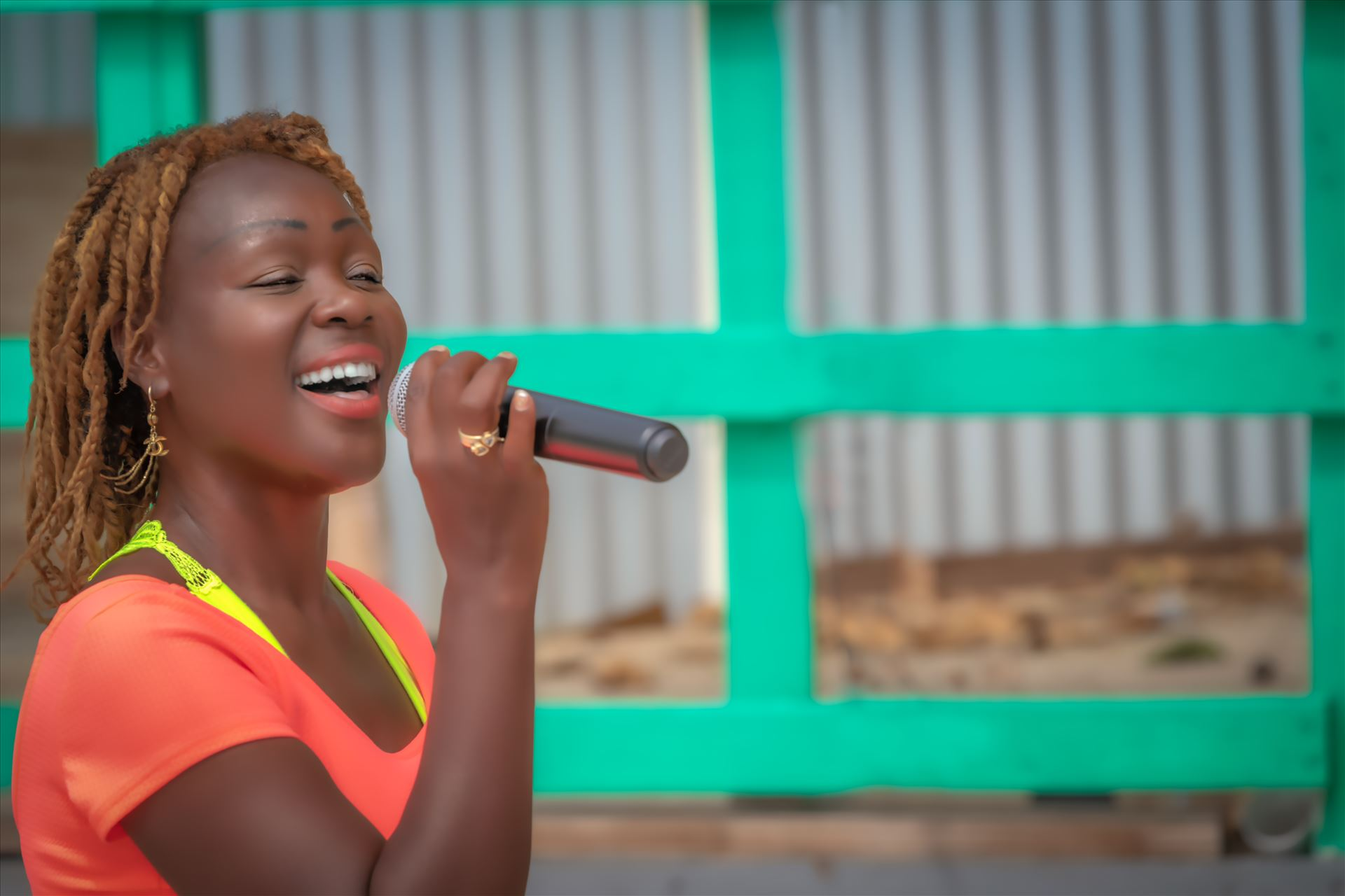 Street performer - young female street performer singing. St. Maarten by Terry Kelly Photography