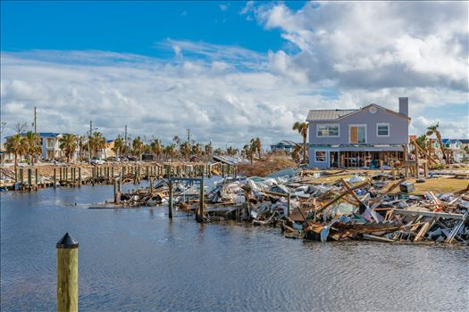 Mexico Beach, Florida, United States October 26, 2018.  16 days after Hurricane Michael. Canal Park
