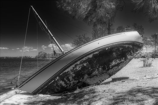 hurricane Michael 6 months later. Boats still remain washed up on land. Panama City, Florida 04/10/2019