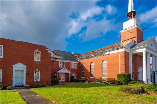 Extensive damage done to the First Presbyterian Church, down town Panama City, Florida, from hurricane Michael