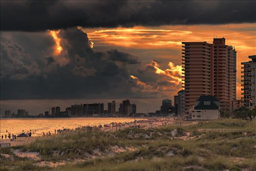 Stormy sunset along the beaches of Thomas Drive Panama City, Beach Florida. Photo taken from the pier at St. Andrews State Park.